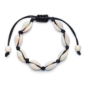 Fesciory Puka Shell Anklet for Women Summer Natural Cowrie Adjustable Ankle Bracelet, Handmade Boho Hawaiian Beach Seashell Jewelry for Girls(Shell Anklet Black Rope)