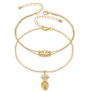 Fesciory Women Anklet Adjustable Beach Ankle Chain Gold Alloy Foot Chain Bracelet Jewelry Gift (Gold Pineapple)