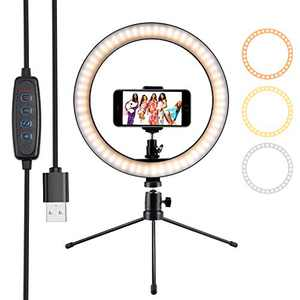 "Ring Light 10"" Selfie Light Ring with Tripod Stand & Phone Holder & Remote Control 3000-5500K 3 Modes and 10 Brightness LED Desktop Selfie Ring Light for YouTube Video/Live Stream/Makeup/Photography"