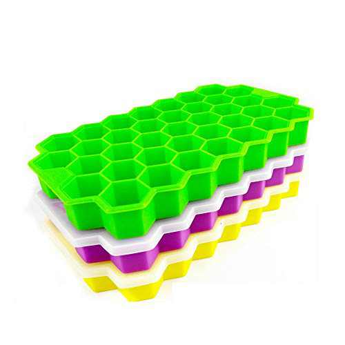 YD YD XINHUA Ice Cube Trays with Lids 3 Pack, Silicone Ice Cube Trays Flexible Easy Release Small Square Ice Tray 111 Cavities Food Grade Stackable Ice Trays for Whiskey, Cocktails, Reusable