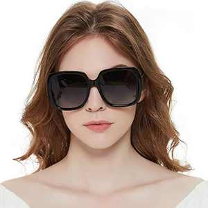 MuJaJa Oversized Square Suglasses for Women Polarized, Fashion Vintage Classic Shades for Outdoor UV Protection(Black/Polarized)