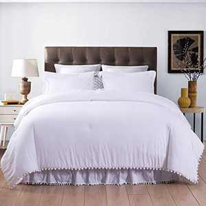 SexyTown White Pom Pom Fringe Comforter Set,Cute Boho Chic Bedding Comforter Set for Queen Bed,Stone-Washed Brushed Ultra Soft Microfiber Inner Fill Bedding 3 Pieces (1 Boho Comforter+2 Pillowcases)