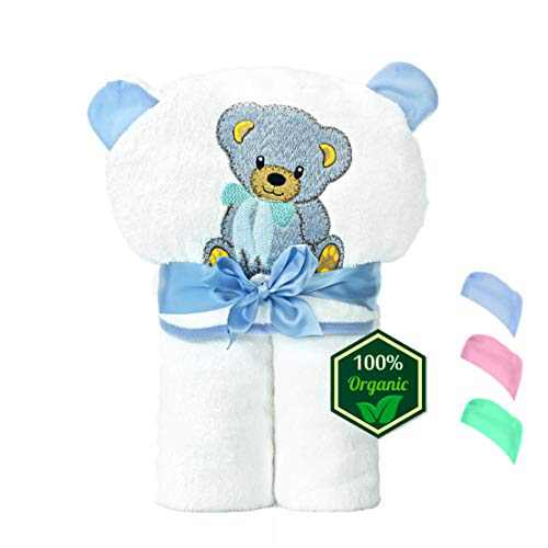 Medove Organic Bamboo Hooded Baby Towel – Soft, Hooded Baby Large Bath Towels, Perfect for Baby Boys (Blue)