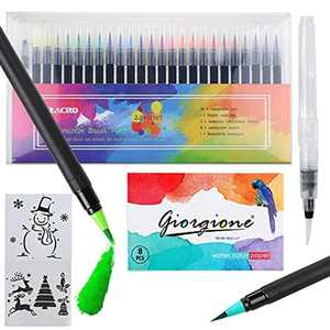 Zacro 24 Colors Watercolour Brush Pen Set + 1 Water Brush + 2 Drawing Stencils + 8 Drawing Papers, Flexible Nylon Tip, Non-Toxic, Non-irritating, Last a Long Time