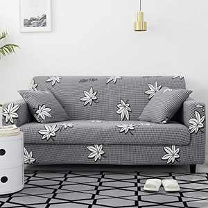 UMINEUX Printed Sofa Cover High Stretch Sofa Slipcovers Couch All Cover Furniture Protector with Two Pillow Covers (Sofa-3 Seater, Grey Space)