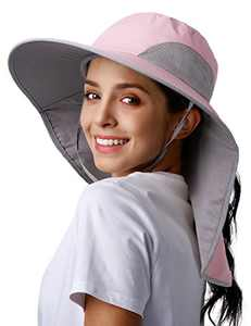 Womens Hiking Fishing Hat Outdoor Wide Brim Gardening Hat with Large Neck Flap UV UPF 50+ Sun Protection Hats for Women