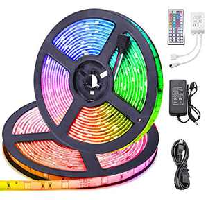 LED Strip Lights 32.8ft With Remote [Upgraded Version] Flexible RGB 5050 IP65 Waterproof Self Adhesive 300LEDs Rope Lights, Multicolor Neon Ribbon LED Tape Lights for Bedroom Kitchen Room Closet Decor