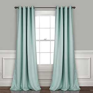 """Lush Decor, Blue Curtains-Grommet Panel with with Insulated Blackout Lining, Room Darkening Window Set (Pair), 108"""" L"""