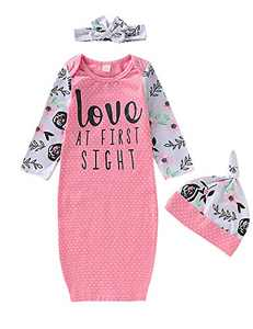 Dramiposs Baby Girl Love at First Sight Gown Sleeper Newborn Floral Nightgown Outfit Sets (Pink, 0-3 Months)