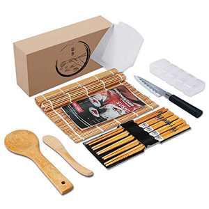 Delamu Sushi Making Kit, Bamboo Sushi Mats With Sushi Knife, Sushi Rolling Mat including 2 Bamboo Sushi Mats, 2 Temaki Rollers, 1 Rice Mold, 5 Chopsticks, 1 Rice Spreader, 1 Rice Paddle, 1 Guide Book