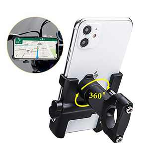 "Spritech Bike Phone Mount, Bike Motorcycle Phone Holder Alloy Handlebar Rack Fits iPhone X XR 8 7 6 | Plus, Galaxy S10 S8 S7 | Plus, All 2.4""-3.9"" Wide Electronic Device for Cycling GPS/Map/Time/Music"
