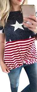 Dauocie Women 4th of July Tops American Flag Blouse Knot Twist Front Summer Causal Patchwork Patriotic USA Shirt