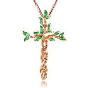 QLEESI Tree of Life Cross Pendant Necklace for Women Mother Family Prosperity- Rose Gold Silver Crucifix Necklace Jewelry For Women Gift for Her on Christmas Thanksgiving Mother's Day Valentine's Day(Green)
