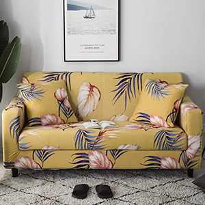 UMINEUX Printed Sofa Cover High Stretch Sofa Slipcovers Couch All Cover Furniture Protector with Two Pillow Covers (Sofa-2 Seater, Yellow)