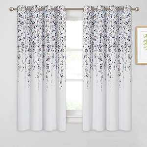 KGORGE Weeping Flowers Curtains for Bedroom, Room Darkening/Thermal Insulated Grommet Drapes, 52-inch Wide x 63-inch Long Each, 2 Panels, Taupe Blue