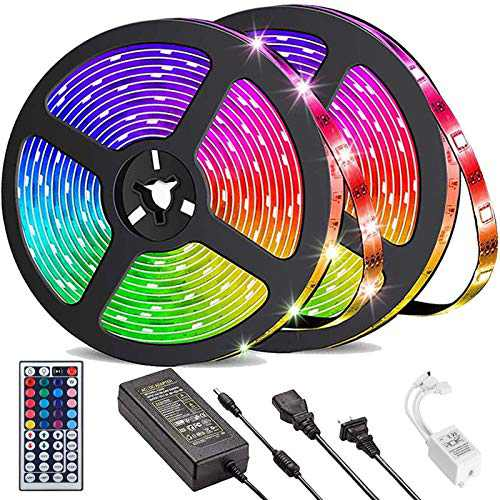 Daufri LED Strip Lights 32.8ft, Waterproof 5050 RGB Color Changing LED Lights for Bedroom, Kitchen, Party, Home Decoration, with 44 Keys IR Remote Controller and 12V Power Supply