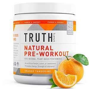 Natural PreWorkout Powder- Preworkout for Men & Women - Plant Based, Keto & Vegan Friendly - Energy, Focus & Performance - Truth Nutrition (30 Servings) (Orange Tangerine)