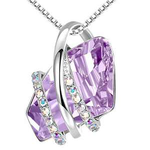 "Leafael Wish Stone Pendant Necklace with Alexandrite Light Purple Birthstone Crystal for June, Silvertone, 18"" + 2"" Chain"