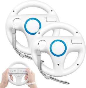 Steering Wheel for Wii Controller, PowerLead 2 pcs Racing Wheel Compatible with Mario Kart, Game Controller Wheel for Nintendo Wii Remote Game-Whtie
