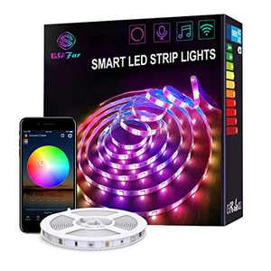 Smart WiFi LED Strip Lights Works with Alexa 16.4ft Color Changing Sync to Music Mood Lighting Tape Lights, 16 Million RGB SMD 5050 Flexible Rope Light for Bedroom, Kitchen, TV, Party for iOS&Android