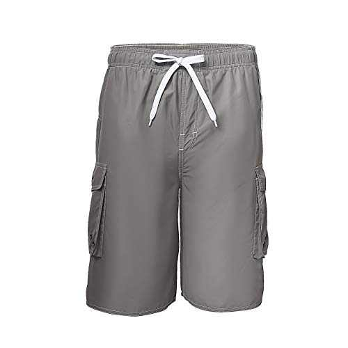 Meegsking Men Quick Dry Swim Trunks Solid Color Beach Board Shorts with Mesh Lining Light Grey