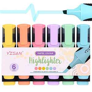 YISAN Highlighter,Chisel Tip Marker Pens, Water Based, Quick Dry, 6 Assorted Pastel Colors 901686