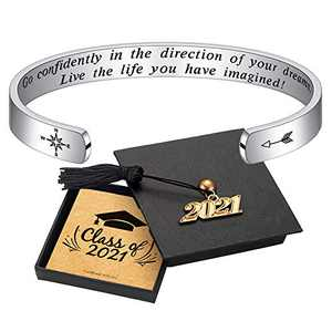Graduation Gifts Cuff Bracelets - 316L Stainless Steel Personalized Engraved Mantra Quote Go Confidently In The Direction Of Your Dreams Bracelets Cuff Bracelet Motivational Graduation Gifts for Women