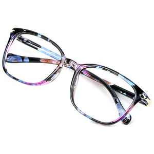 Blue Light Blocking Glasses for Women, Anti Eyestrain, Computer Reading, TV Glasses, Stylish Square Frame, Anti Glare(No Magnification)