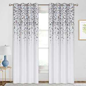 """KGORGE Botanical Floral Curtains, Room Darkening Window Curtain Set for Dining Area/Living Room, W 52"""" x L 84"""" per Panel, One Pair, Taupe Blue"""