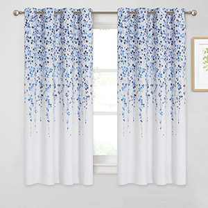"""KGORGE Weeping Flowers Curtains, Room Darkening Garden Rural Series for Living Room Decor Bedroom Home Office Art Gallery, 52"""" x 63"""", 2 Panels, Blue"""