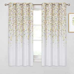 """KGORGE Flower Print Curtains Home Decor, Brighten Living Space Light Block Thermal Insulated Curtain Draperies for Bedroom Kitchen, 52"""" x 63"""", 2 Panels, Yellow Taupe"""