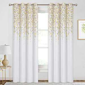 KGORGE Room Darkening Window Curtains, Flower Drop Print Insulated Drapes for Sliding Glass Door Living Room Dining, 52 x 84 inches Each, One Pair, Yellow Taupe