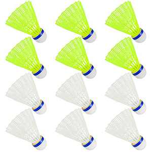 Hysagtek 12 Pcs Nylon Badminton Shuttlecocks Birdies Hight Speed Training Badminton with Stable for Sport Training Indoor Outdoor Game (White and Yellow)