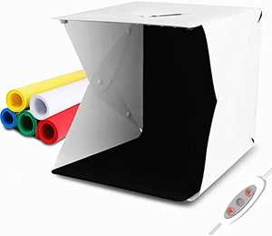 "LAMZIX Portable Photo Studio,9.8"" x 9.3"" x 8.7"" Adjustable Brightness Photography Studio Box Shooting Tent Mini Folding Table Top LED Light Box Kit with 6 Color Background and 40pcs led"