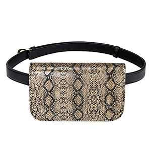 Badiya Women's Mini Waist Bag Fanny Packs Crocodile Leather Cell Phone Pocket (Python veins-khaki)
