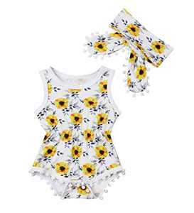 Newborn Kids Baby Girls Clothes Floral Jumpsuit Romper Playsuit + Headband Outfits (6-12 Months, Yellow 2)