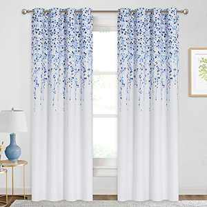 KGORGE Floral Decor Room Darkening Window Curtains for Bedroom, Thermal Insulated Drapes for Energy Saving, 52 inches Width x 84 inches Length, 2 Pcs, Blue