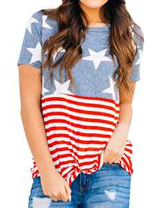 Dauocie Womens American Flag Tops 4th of July Shirt Summer Short Sleeve Knot Twist Front Patriotic USA Blouse