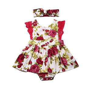 Toddler Baby Girl 2Pcs Romper + Headband Floral Sleeveless Lace Infant Newborn Jumpsuit Sets (0-6 Months, Floral)