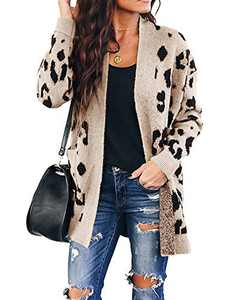 Chang Yun Women's Leopard Cardigan Sweaters Open Front Knit Kimono Long Sleeve Boyfriend Casual Coat Outwear with Pockets