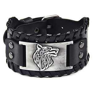 TURTLEDOVE Viking Bracelet Wolf Fenrir - Vintage Nordic Scandinavian Talisman - Gothic Bracelet for Celtic Pagan