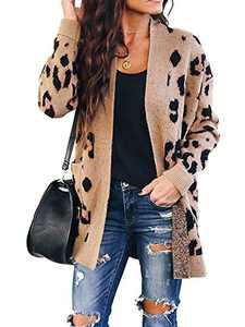 Chang Yun Women's Leopard Cardigan Sweaters Open Front Knit Kimono Long Sleeve Boyfriend Casual Coat Outwear with Pockets