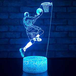 JMLLYCO Kobe Bryant Night Light Basketball Lights 16 Colors Change with Remote Control Optical Illusion Bedside Lamps for Adult or Kids as Birthday Gift or Holidays Present