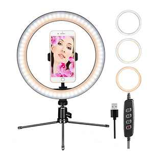 """10""""Ring Light CUMIZON LED Dimmable Desktop Lamp Selfie Ring Light with Tripod Stand & Cell Phone Holder for YouTube Video,Led Camera Ringlight for Live Stream,Makeup"""