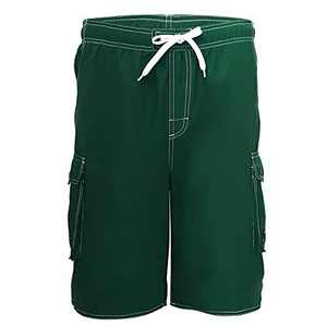 Meegsking Men Quick Dry Swim Trunks Solid Color Beach Board Shorts with Mesh Lining Green
