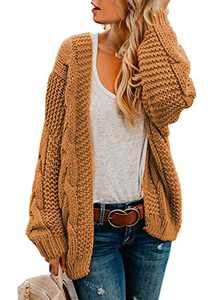 Dokotoo Womens Cardigans Sweaters Open Front Long Sleeve Cable Knit Chunky Cozy Ribbed Winter Sweater Oversized Fashion Loose Cardigans Coats Outerwear Brown Medium