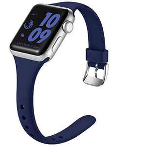 Laffav Sport Band Compatible with Apple Watch 42mm 44mm for Women, Slim Sport Replacement Wristband for iWatch SE & Series 6 & Series 5 4 3 2 1, Midnight Blue, M/L