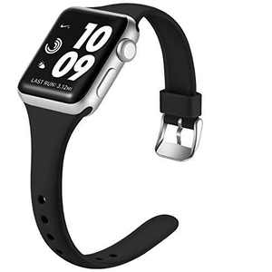 Laffav Sport Band Compatible with Apple Watch 42mm 44mm iWatch SE & Series 6 & Series 5 4 3 2 1 for Women Men, Black, S/M