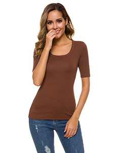 A Grain of Wheat Short Sleeve Scoop U Neck T-Shirts for Women Casual Plain