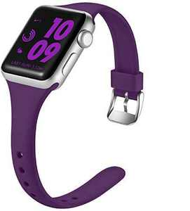 Laffav Slim Band Compatible with Apple Watch 40mm 38mm for Women, Durable Silicone Sport Strap Compatible with Apple Watch SE & Series 6 & Series 5 4 3 2 1, Purple, S/M